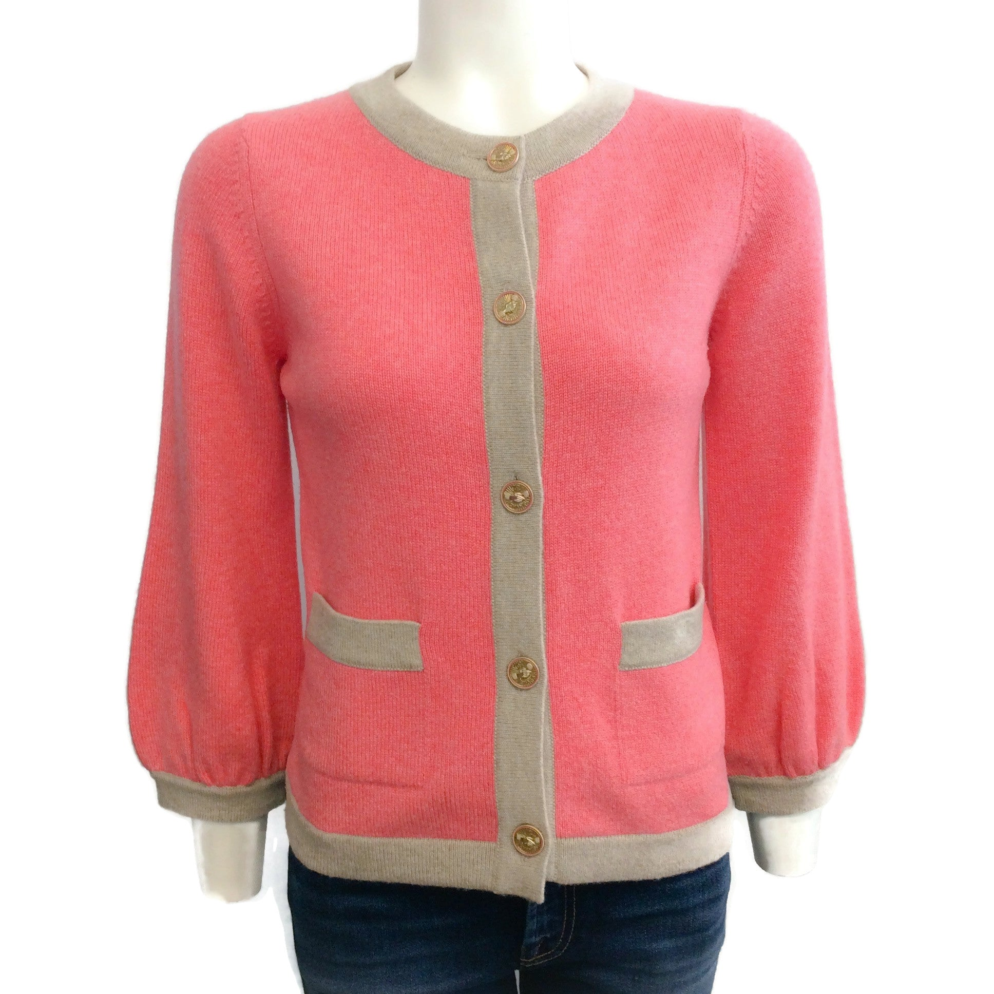 Chanel 08P Coral with Tan Trim Sweater