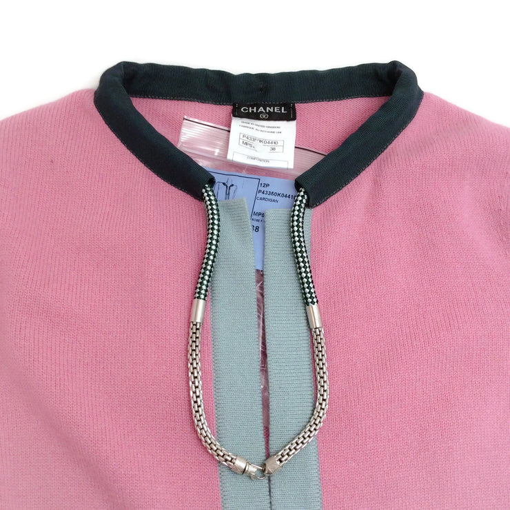 Chanel Attached Necklace Pink and Gray Sweater