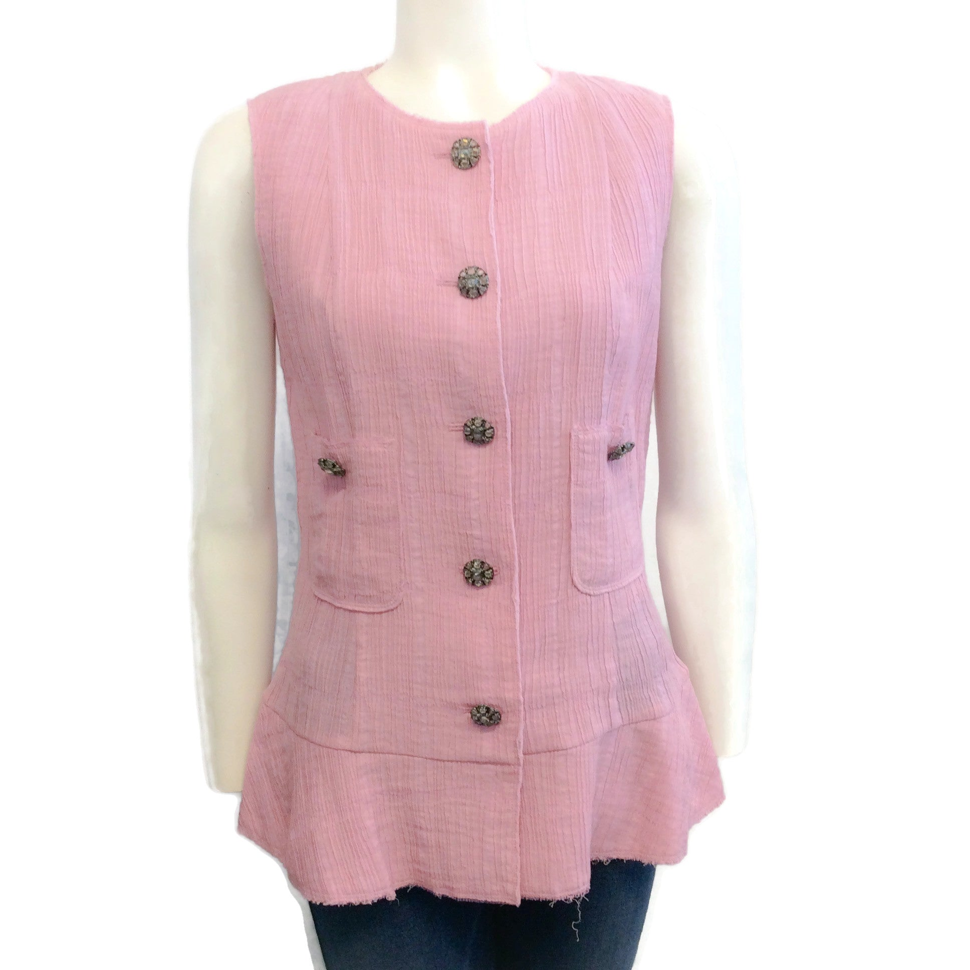 Chanel Pink 12P Pleat Tank Top