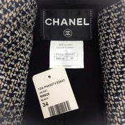 Chanel Black and Gray 12A Tweed Blazer