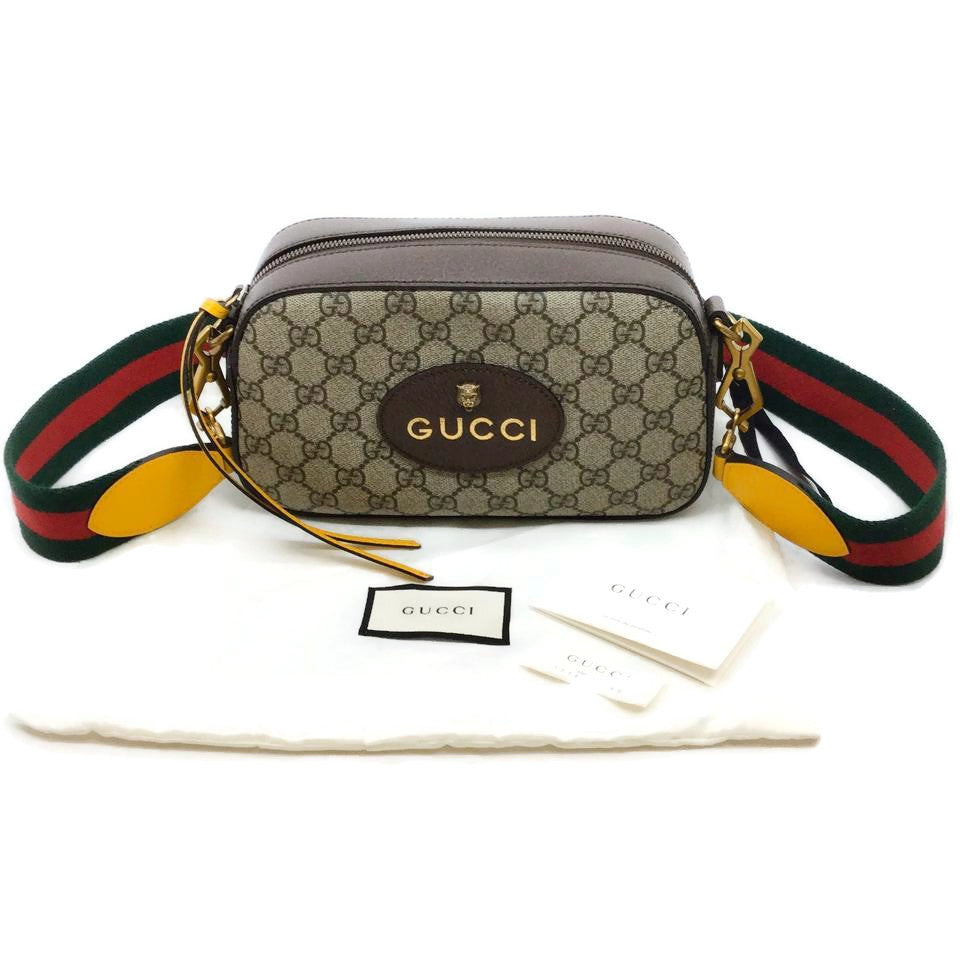 Gucci GG Supreme Brown Canvas / Leather Messenger Bag