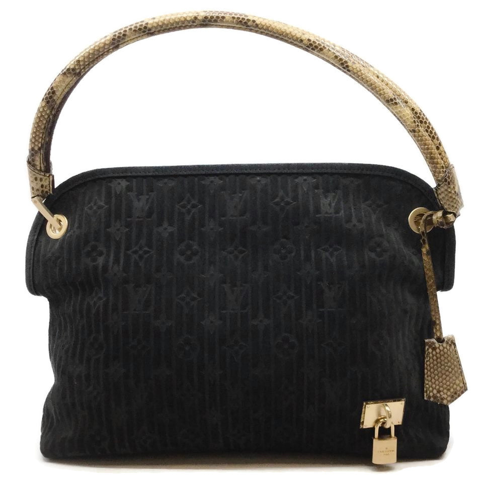 Louis Vuitton Limited Edition Kohl Whisper Monogram Suede Black Python Shoulder Bag