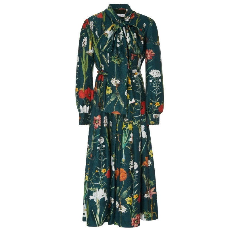 Oscar de la Renta Green Flower Harvest Silk Twill Casual Maxi Dress