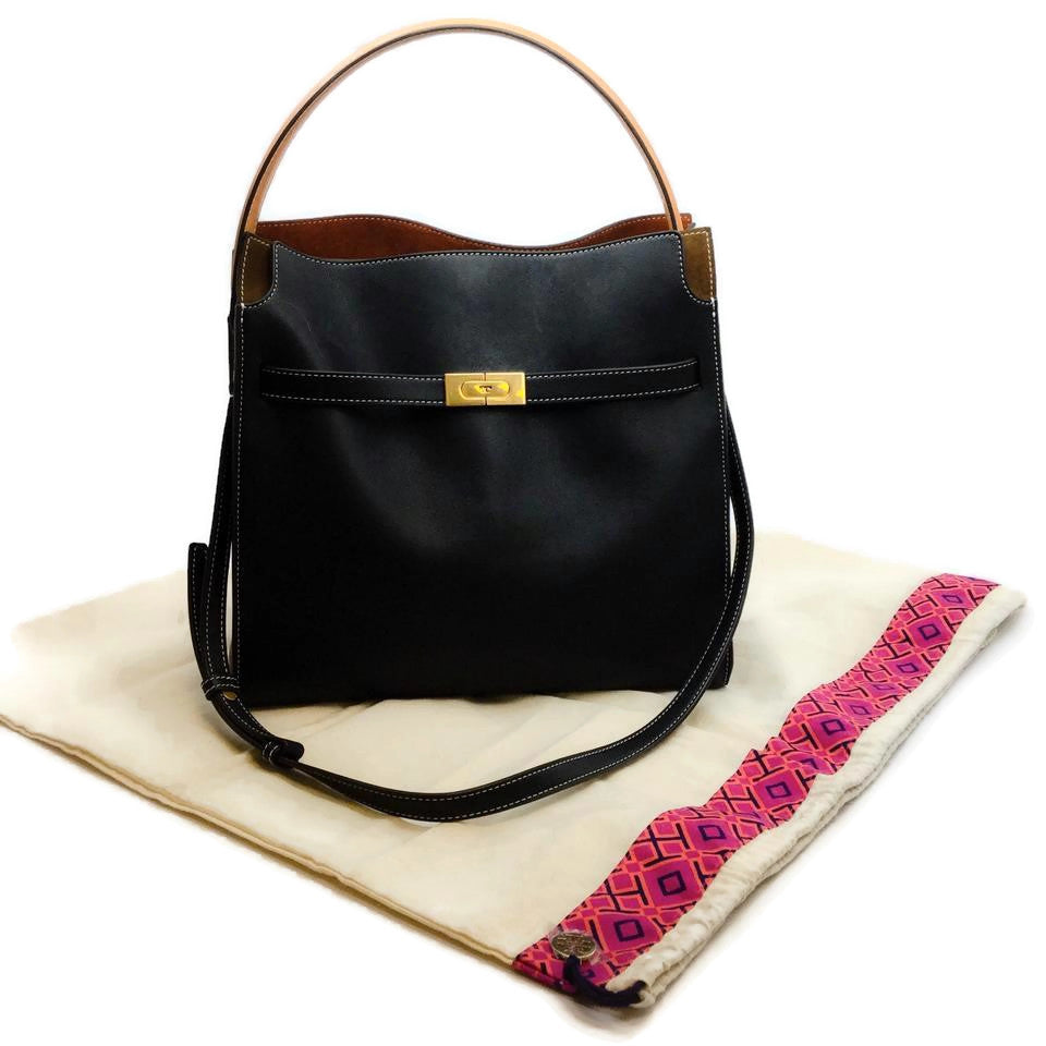 Tory Burch Lee Radziwill Double Black / Brown Suede Leather Tote
