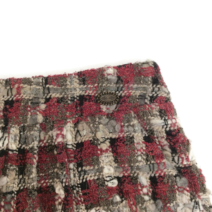 Chanel Oxblood / Grey Tweed with Rabbit Trim Skirt