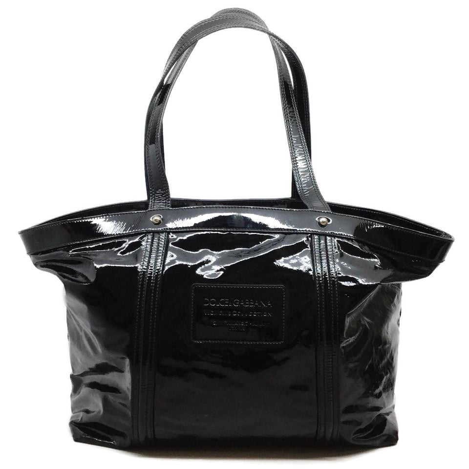 Dolce&Gabbana Miss Bye Bye Black Patent Leather Tote