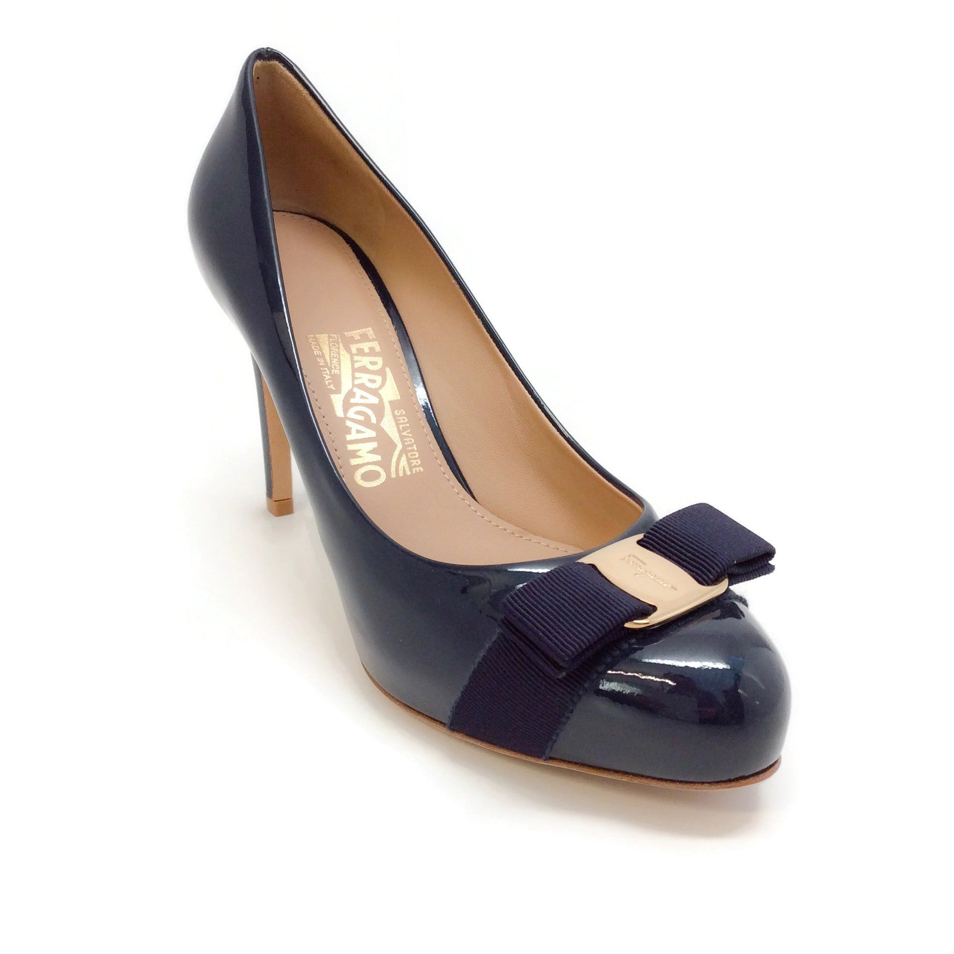 Salvatore Ferragamo Navy Blue Patent Leather Pumps