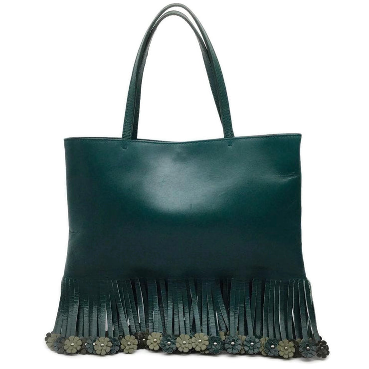 ALAÏA Flower Fringe Green Leather Hobo Bag