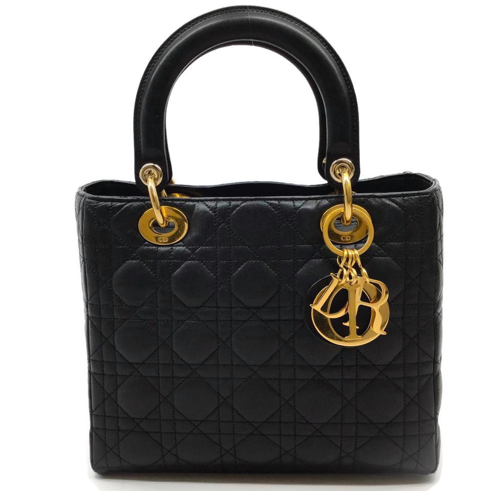 Dior Lady Vintage 1st Edition Black Leather Tote