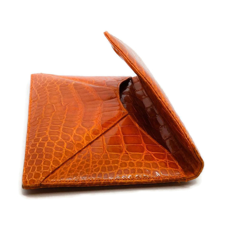 Jada Loveless Marie Envelope Orange Alligator Skin Leather Clutch