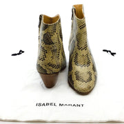 Isabel Marant Natural Dacken Snake Print Ankle Boots/Booties