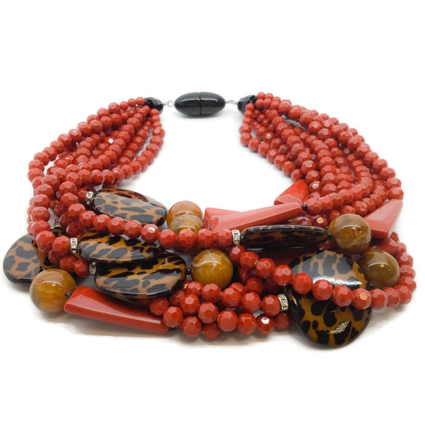 Angela Caputi Red and Leopard Vintage Italian Multi Strand Beaded Necklace