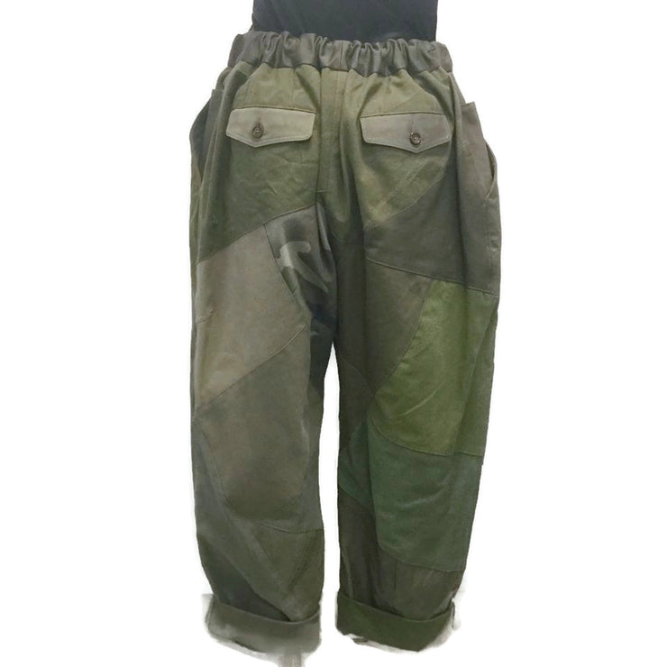 Dolce&Gabbana Military Green Heart Amore Patchwork Pants