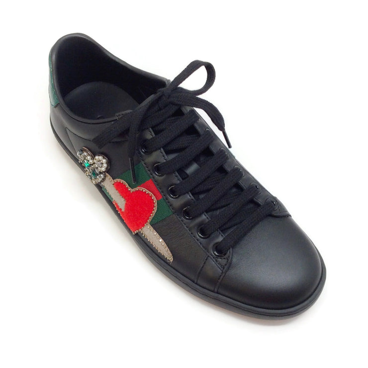 Gucci Black / Flame Ace Pierced Heart Sneakers