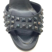 Manolo Blahnik Black Leather Multi Color Studded Open Toe Sandals
