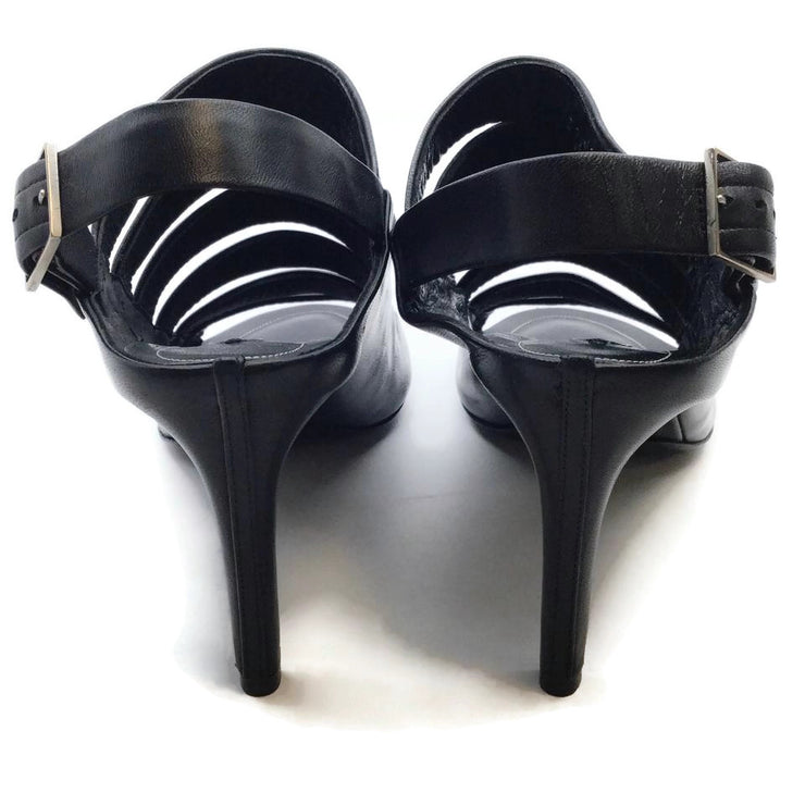 Balenciaga Black Leather Banded Slingback Sandals