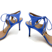 Aquazzura Blue Suede Colette Ankle Strap Sandals