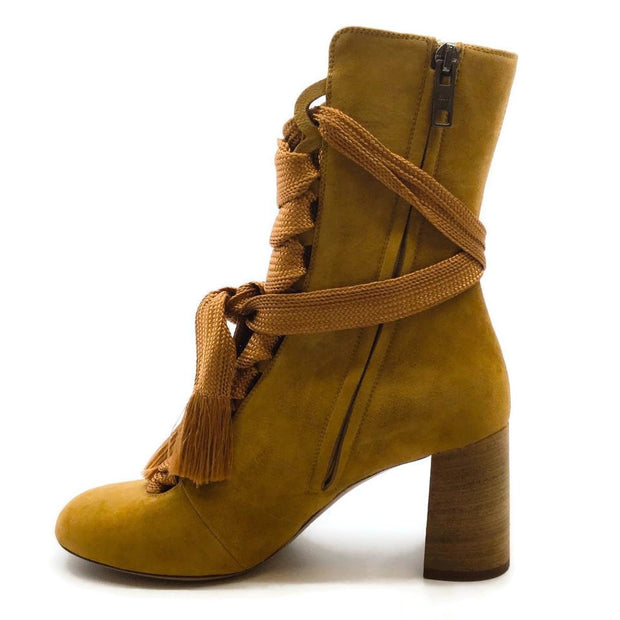 Chloé Spicy Yellow Harper Lace Up Suede Ankle Boots/Booties