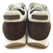 Peserico Brown Color Block Low Top Sparkle Sneakers