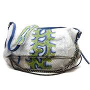 Jimmy Choo Biker Chain Blue Python Skin Leather Shoulder Bag