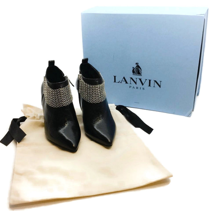 Lanvin Black Leather and Silver Chain Link Ankle Boots/Booties