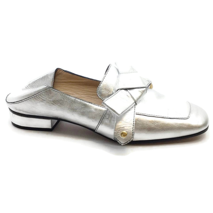 Chloé Metallic Silver Quincy Collapsible Heel Loafer Style Flats