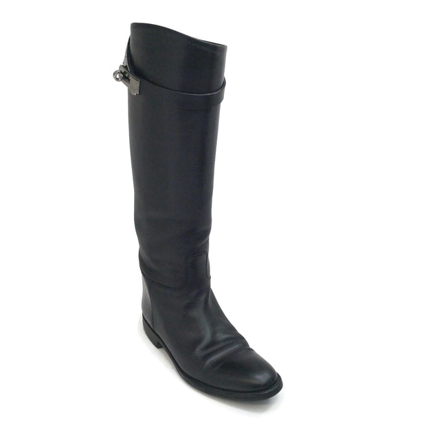 Hermès Black Leather Jumping Boots