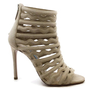 Prada Taupe Suede Caged Ankle Bootie Style Sandals