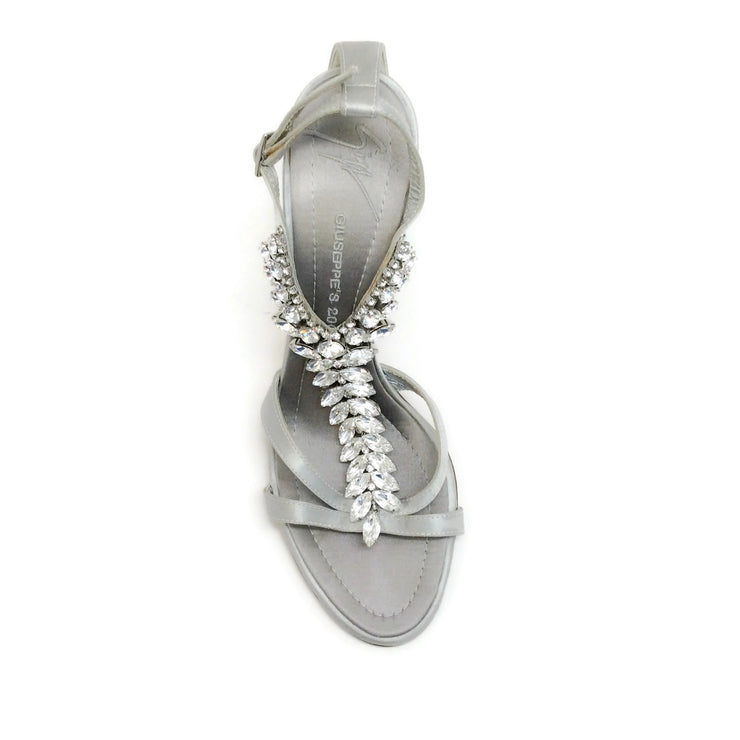 Giuseppe Zanotti Grey Satin Crystal Embellished Sandals