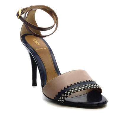 Fendi Navy and Mauve Leather Ankle Strap Sandals