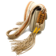 Altuzarra Woven Strap Tassel Tan Leather Cross Body Bag