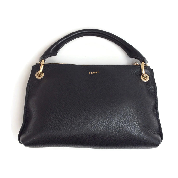 sacai Mod Pouch Black Leather Shoulder Bag