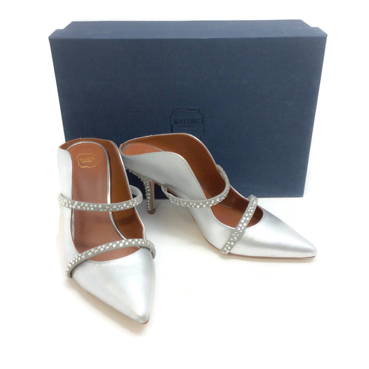 Malone Souliers Silver with Crystals Maureen Mules