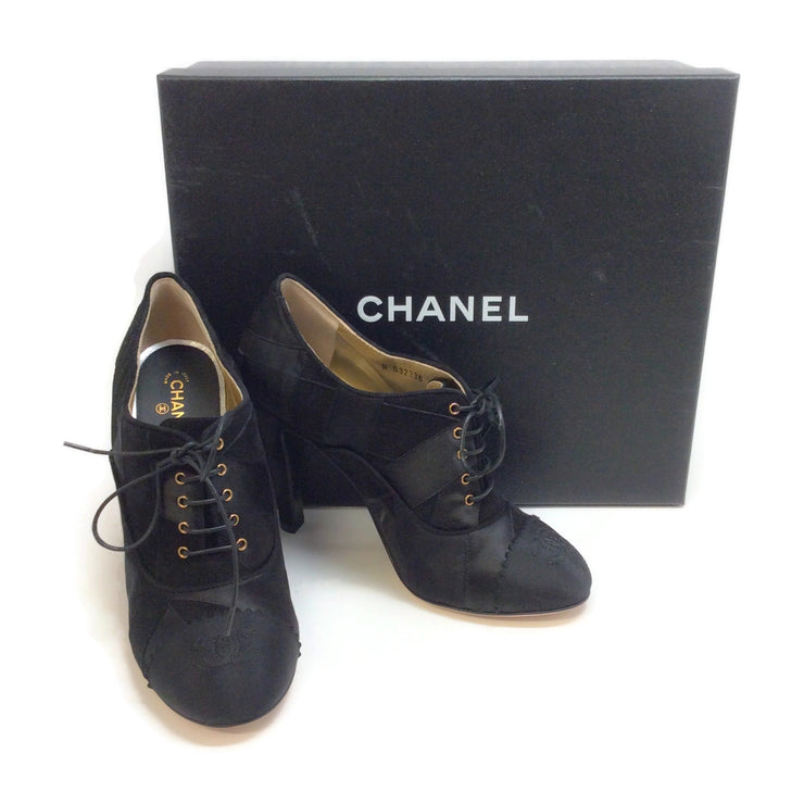 Chanel Black Patchwork Lace Up Booties