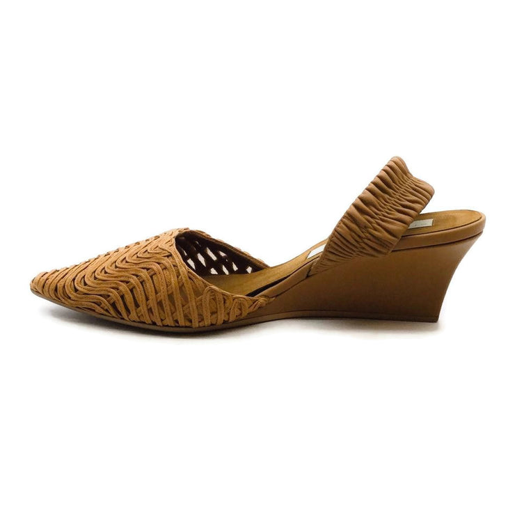 Stella McCartney Brown Basket Weave Slingback Wedges