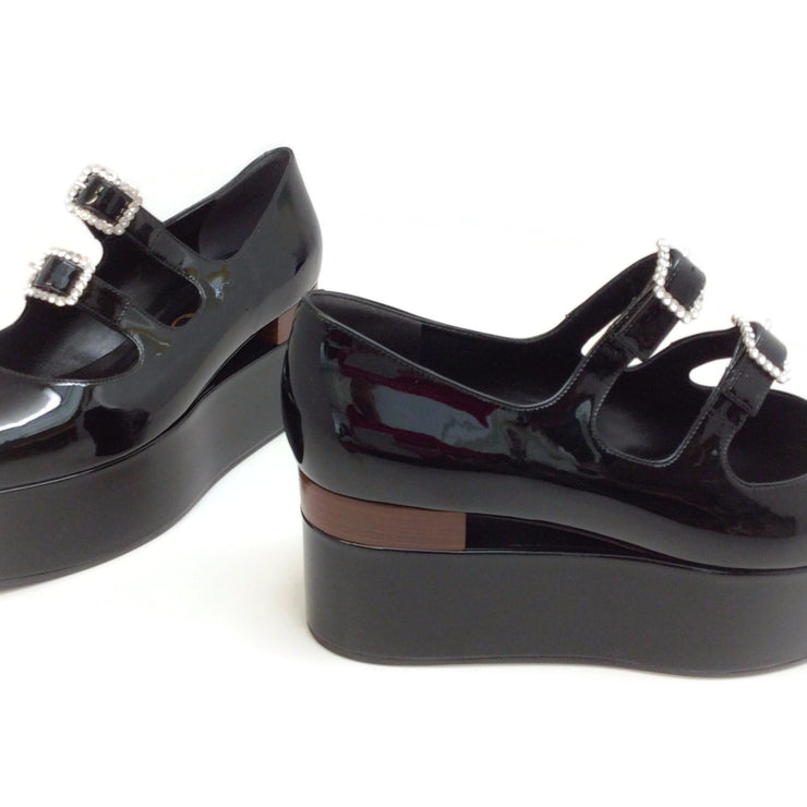 Gucci Black Patent Crystal Buckle Flatforms