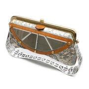 Fendi Limited Edition Sequin and Metal Sculpted Handle Multicolor Satin Baguette