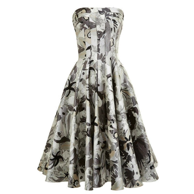 Thom Browne Grey Jungle Floral Strapless Flared Front Paneled Cocktail Dress