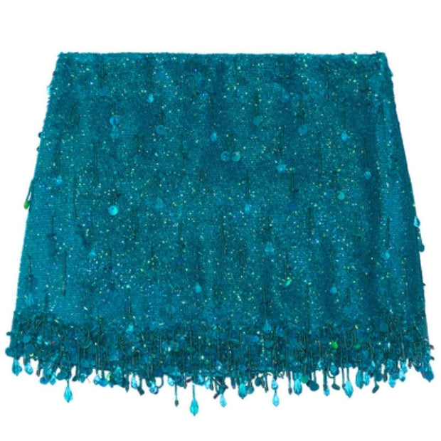 Ashish Turquoise Sequined Silk Georgette Beaded Skirt