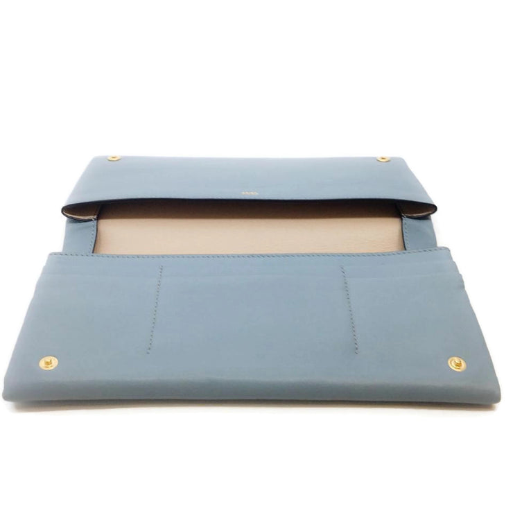 Chloé Light Blue Leather with Navy Zip Pouch Wallet