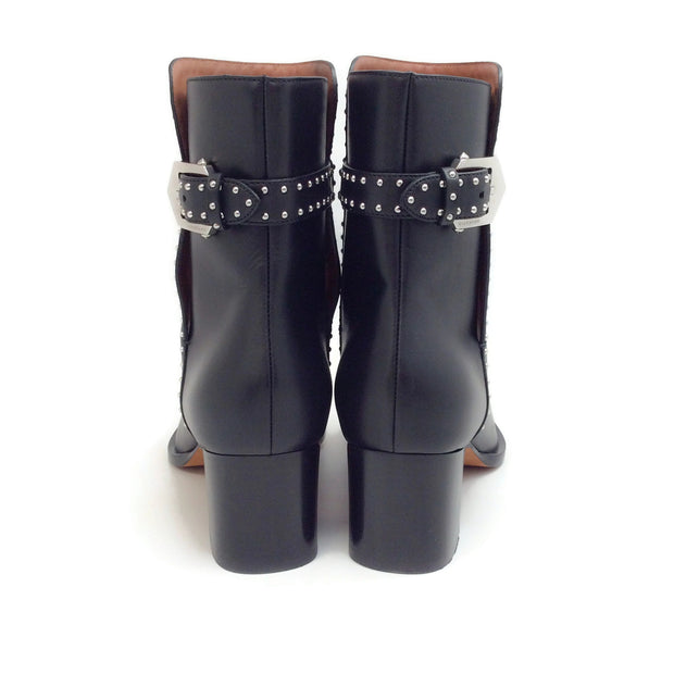 Givenchy Black Leather Elegant Studded Ankle Boots
