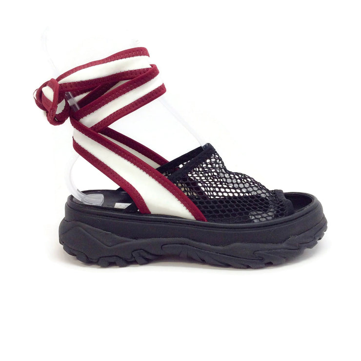 Toga Black / Dark Red Ankle Wrap Tie Sandals