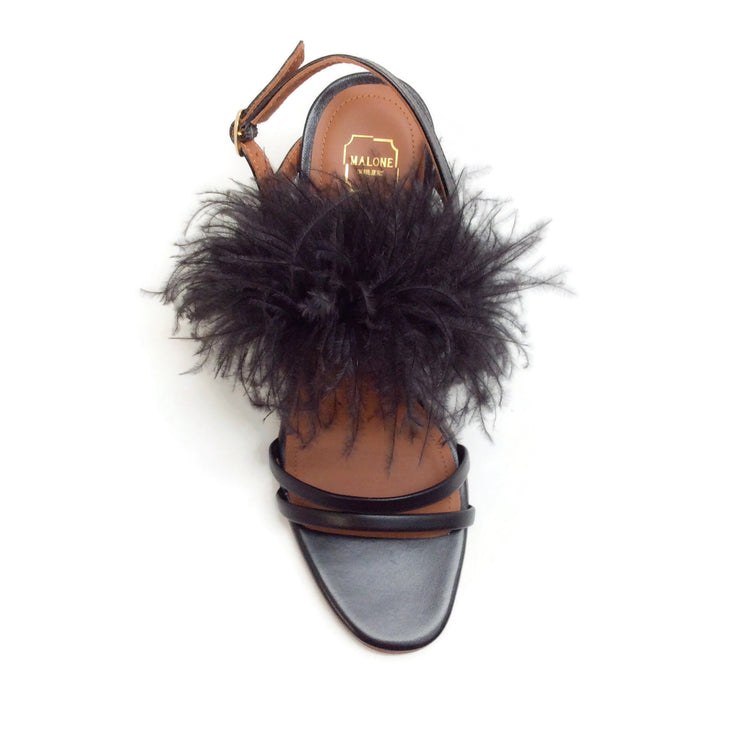 Malone Souliers Black Sonia Feather Sandals