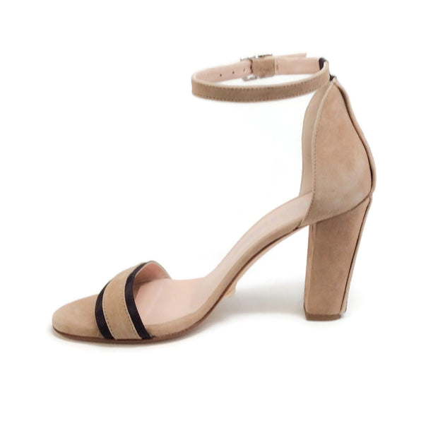 Peserico Beige Suede Ankle Strap Sandals