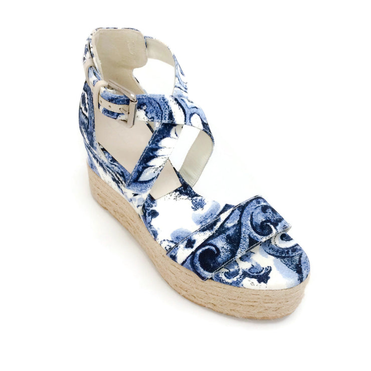 Ralph Lauren Collection Blue / White Canvas Wedge Espadrille Sandals