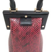 Perrin Paris Frame Oxblood / Black Snake Satchel