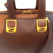 Fendi Tri Colored Brown Leather Satchel