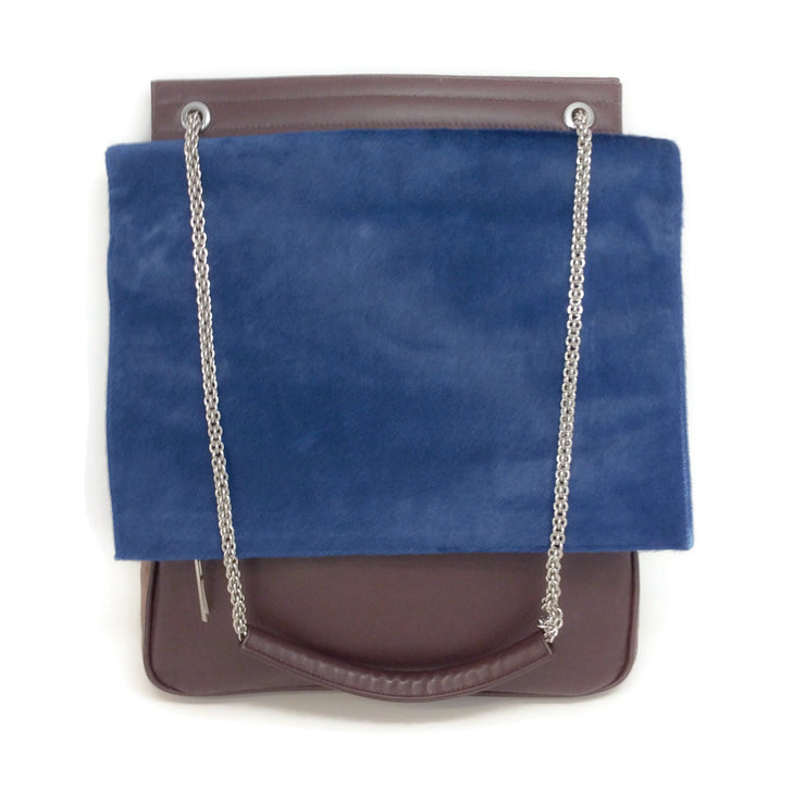 Hayward Flap Brown / Cobalt Leather / Pony Shoulder Bag