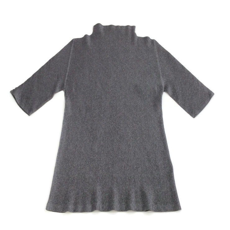 Issey Miyake Pleats Please Charcoal Grey Elbow Sleeve Mock Neck Tee Shirt