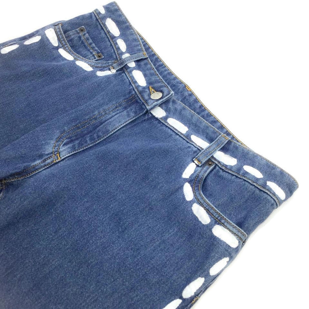 Moschino Blue and White Paint Spot Five Pocket Straight Leg Jeans